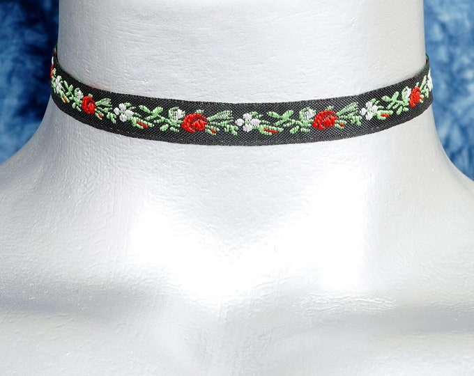 Thin Black, Red and Green Floral Jacquard Satin Ribbon Choker Necklace