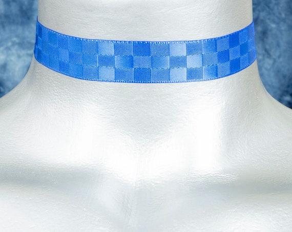 Royal Blue Checkerboard Satin Ribbon Choker Necklace