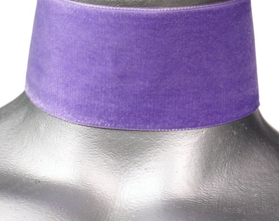 Wide Lavender Light Purple Velvet Ribbon Choker Necklace (50mm)