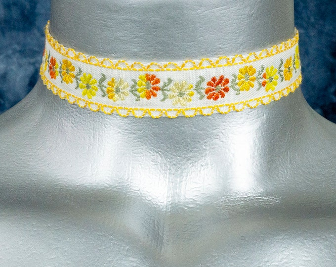 Yellow and Orange Daisy Flowers Embroidered Ribbon Choker Necklace
