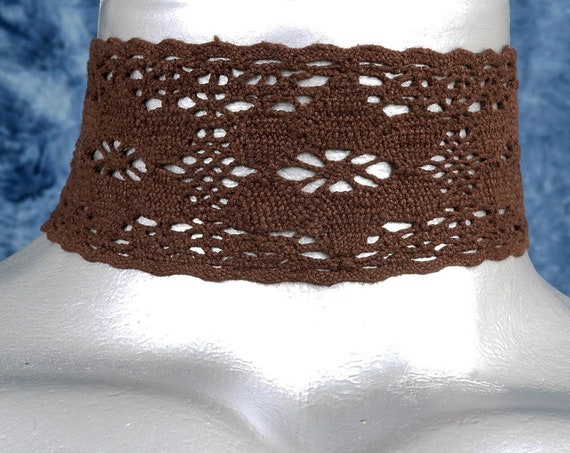 Wide Brown Floral Cluny Lace Choker Necklace