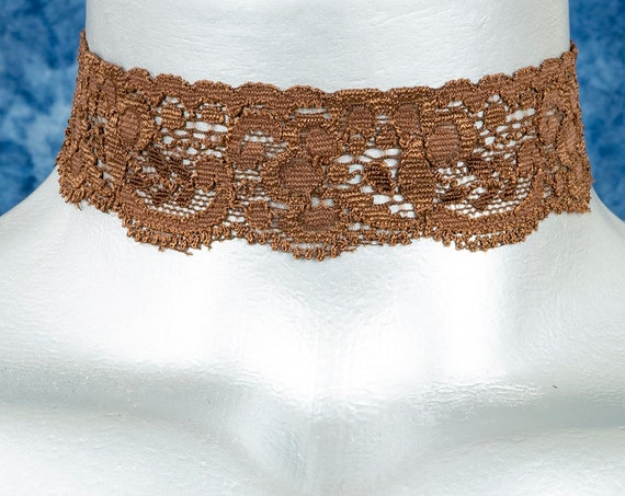 Brown Floral Elastic Stretch Lace Choker Necklace