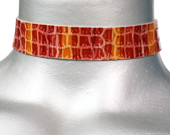 Red and Orange Candy Stripe Leather Choker Necklace