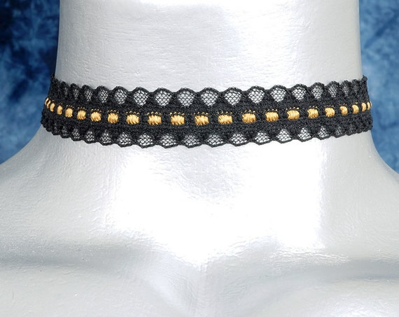 Black and Gold Scalloped Lace Choker Necklace