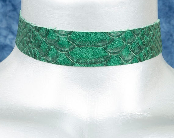 Green Snake Punk Leather Choker Necklace