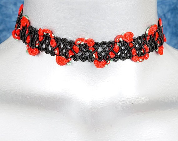 Black with Red Rose Swirl Soutache Choker Necklace
