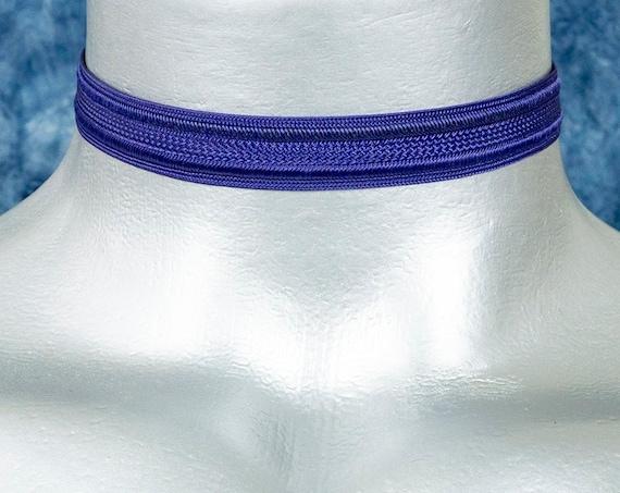 Thin Dark Navy Blue Satiny Trim Ribbon Choker Necklace