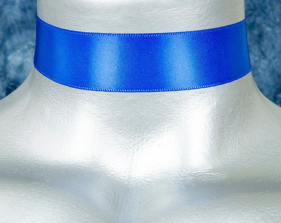 Royal Blue Satin Ribbon Choker Necklace (22mm)