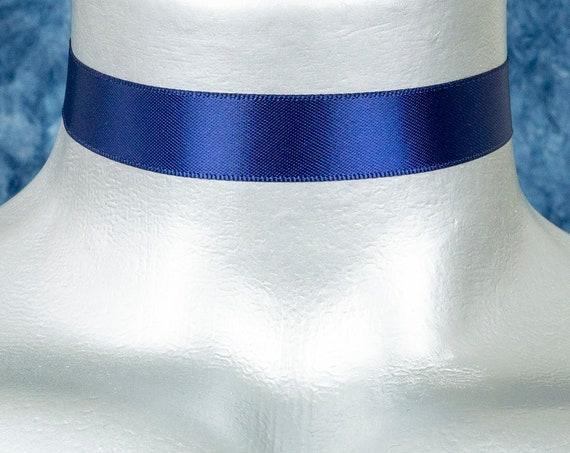 Dark Navy Blue Satin Ribbon Choker Necklace (16mm)