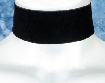Wide Black Velvet Ribbon Choker Necklace (38mm)