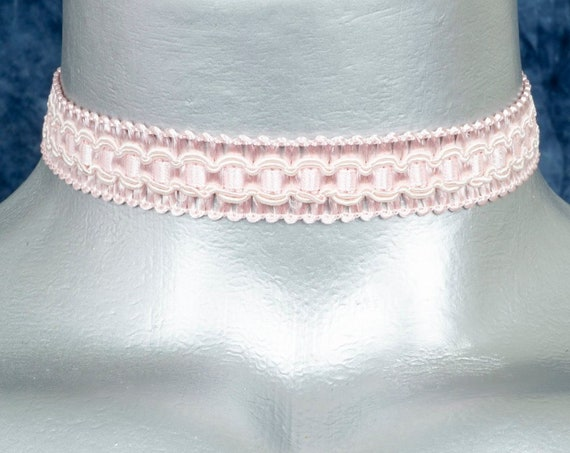Light Pink Regal Satiny Formal Trim Choker Necklace