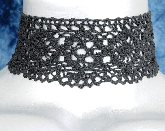 Wide Black Scalloped Cluny Lace Choker Necklace