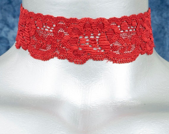 Red Floral Elastic Stretch Lace Choker Necklace