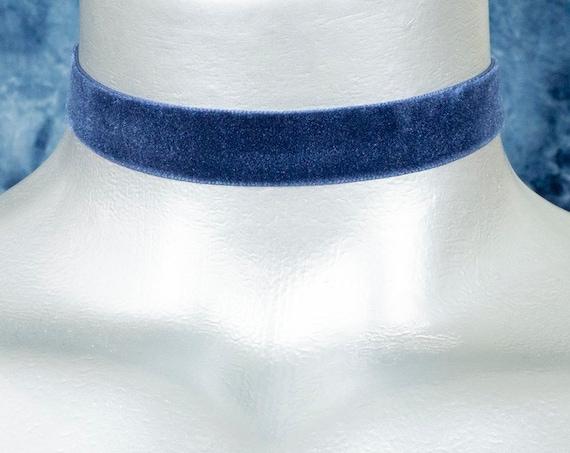 Dark Navy Blue Velvet Ribbon Choker Necklace (16mm)
