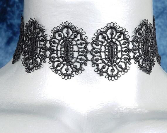 Black Hexagonal Filigree Lace Choker Necklace