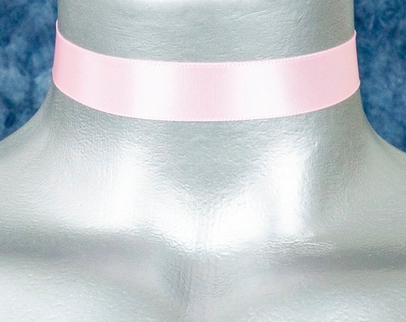 Light Pink Satin Ribbon Choker Necklace (16mm)