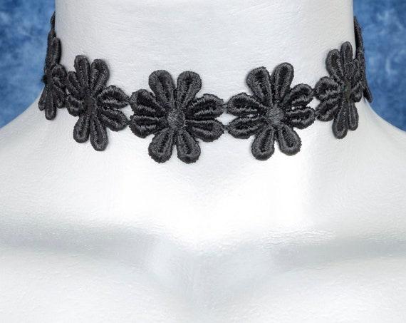 Black Daisy Lace Choker Necklace