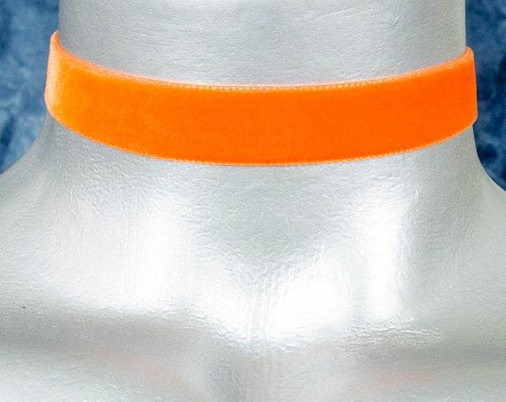 Orange Velvet Ribbon Choker Necklace (16mm)