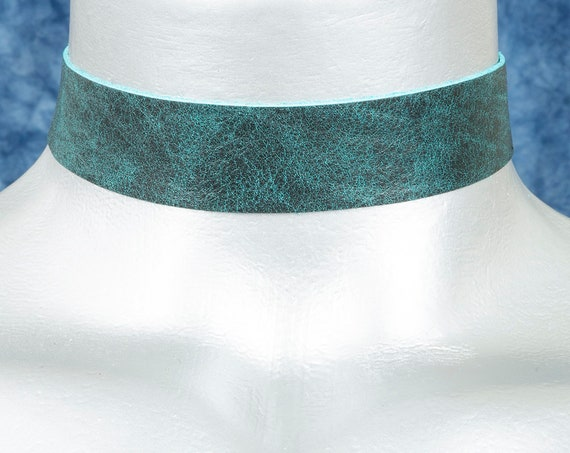 Teal Smoke Leather Choker Necklace (20mm)