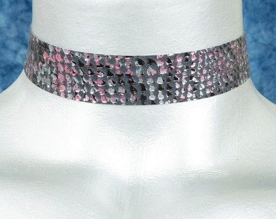 Black with Hot Pink Punk Metallic Silver Snake Leather Choker Necklace