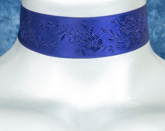 Dark Navy Blue Floral Jacquard Satin Ribbon Choker Necklace