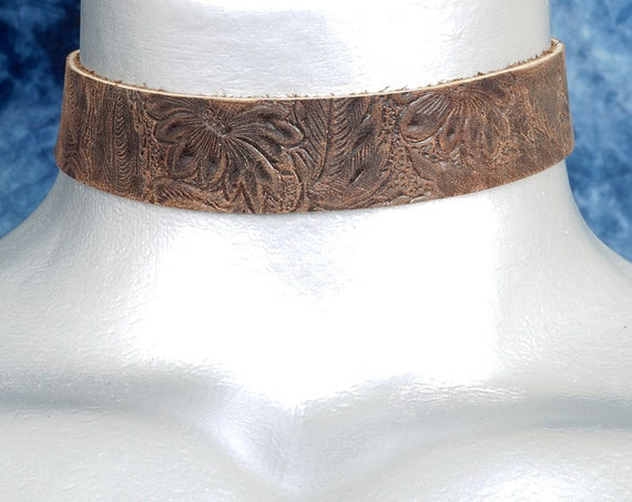 Floral Embossed Dark Brown Leather Choker Necklace