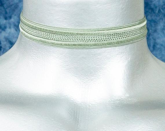 Thin Silvery Gray Satiny Trim Ribbon Choker Necklace