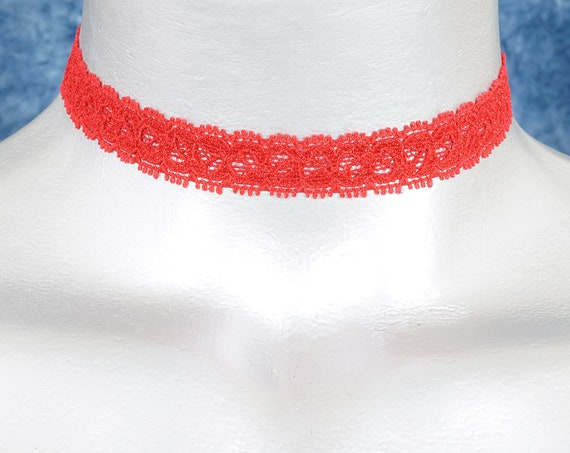 Thin Red Stretchy Elastic Flower Lace Ribbon Choker Necklace