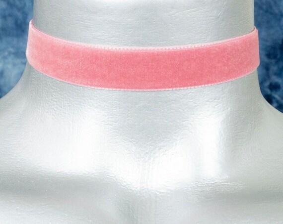 Dusty Rose Pink Velvet Ribbon Choker Necklace (16mm)