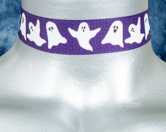 Purple with White Ghosts Halloween Ribbon Choker Necklace