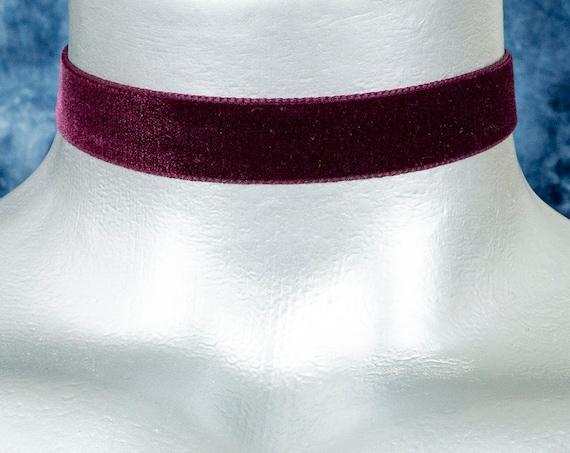 Dark Purple Burgundy Velvet Ribbon Choker Necklace (16mm)