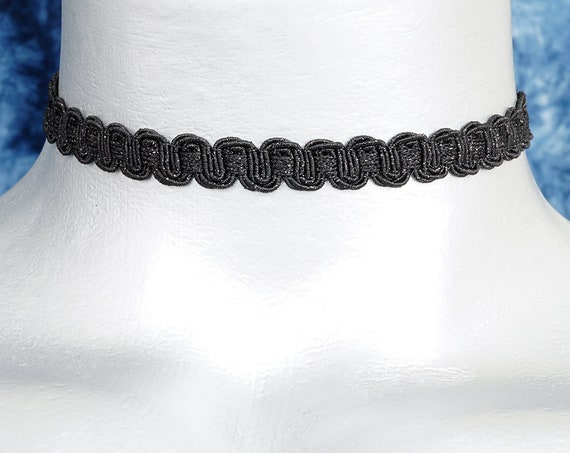 Thin Black Shimmering Scroll Choker Necklace