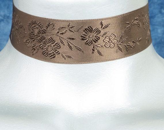 Brown Floral Jacquard Satin Ribbon Choker Necklace