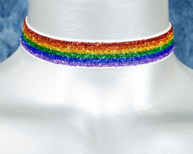 Rainbow Glitter Stretchy Elastic Velvet Choker Necklace