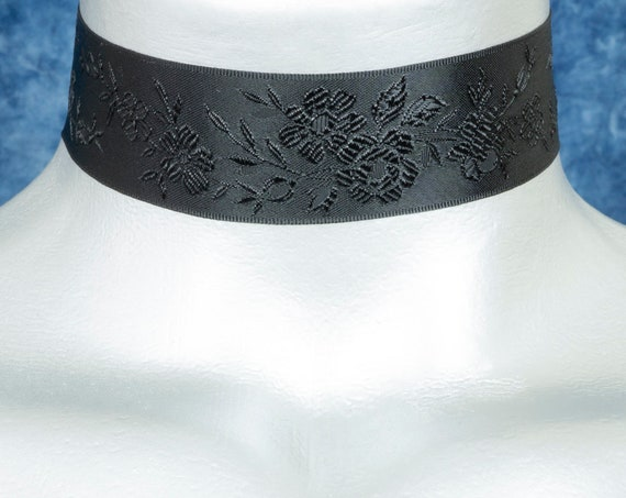 Black Floral Jacquard Satin Ribbon Choker Necklace