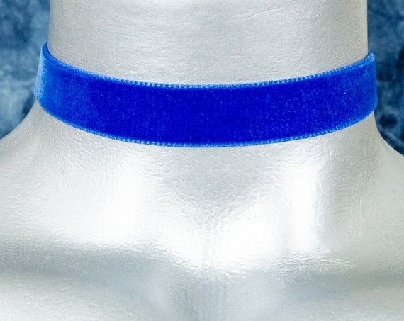 Royal Blue Velvet Ribbon Choker Necklace (16mm)