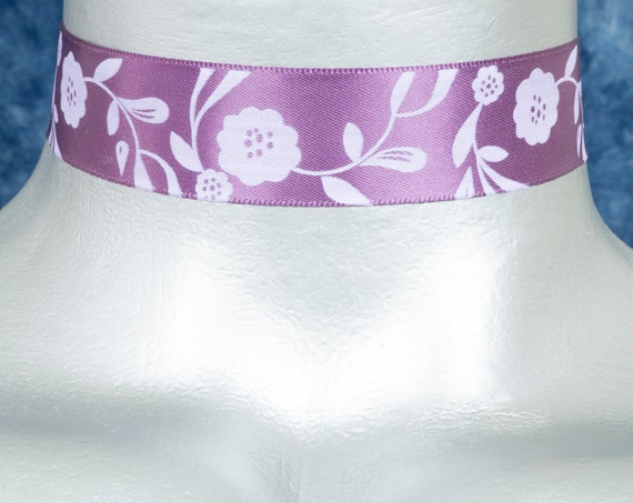 Purple Floral Satin Ribbon Choker Necklace
