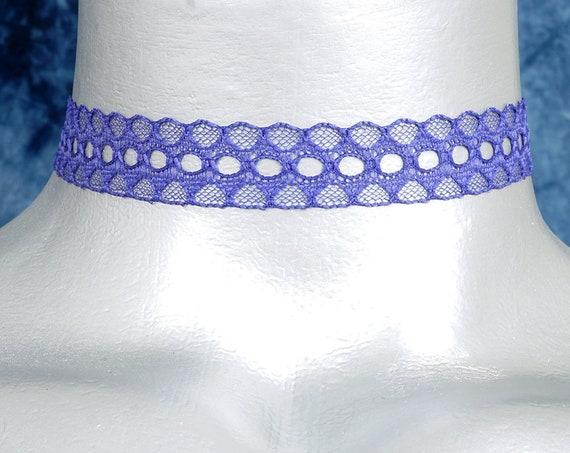 Purple Galoon Scalloped Lace Choker Necklace