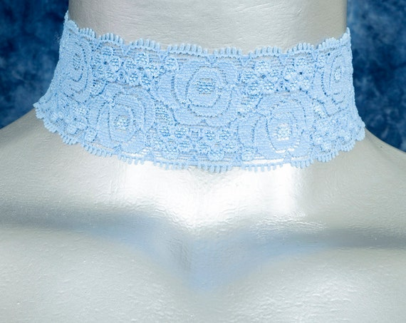 Light Blue Rose Stretchy Elastic Lace Choker Necklace