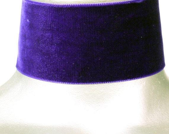 Wide Purple Velvet Ribbon Choker Necklace (50mm)