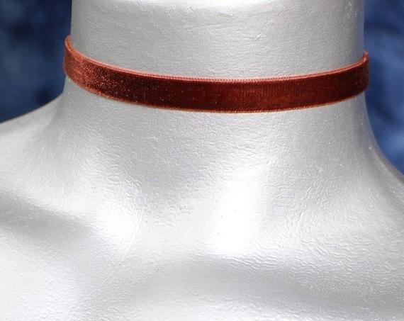 Thin Brown Velvet Ribbon Choker Necklace (10mm)