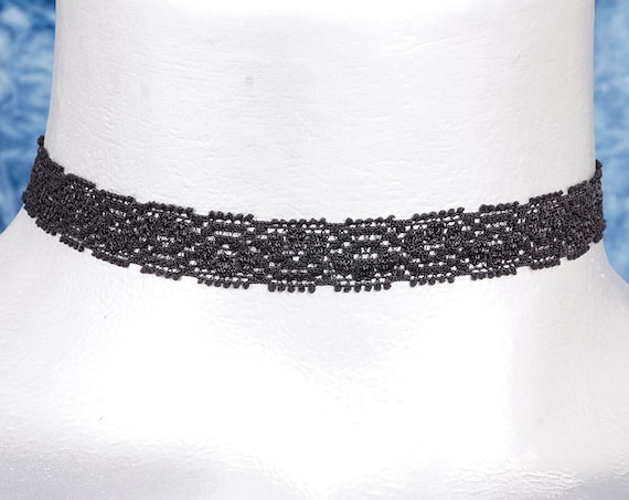 Thin Black Floral Picot Elastic Lace Choker Necklace