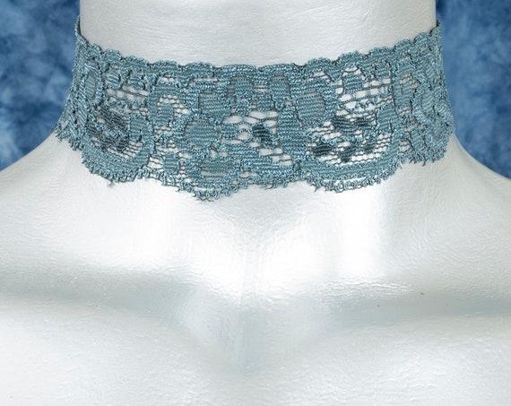 Ocean Blue Floral Elastic Stretch Lace Choker Necklace