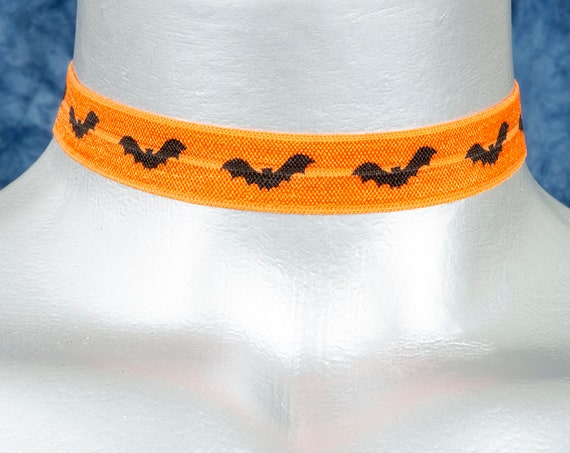 Orange with Black Bats Stretchy Elastic Halloween Choker Necklace