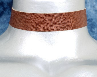 Dark Brown Mini Bubbles Embossed Leather Choker Necklace