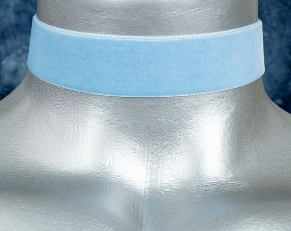 Light Blue Velvet Ribbon Choker Necklace (22mm)