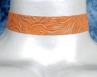 Orange Floral Gold Embossed Leather Choker Necklace