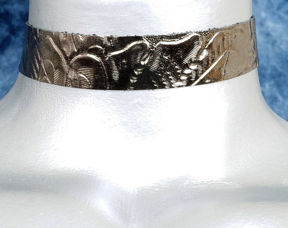 Metallic Pale Bronze Floral Embossed Leather Choker Necklace