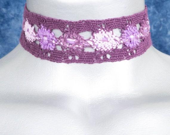 Wide Three-Tone Purple Boho Cluny Lace Choker Necklace