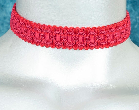 Regal Red Satiny Formal Trim Choker Necklace